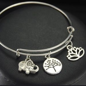 🆕 Tibetan Lotus Tree Elephant Charm Bangle